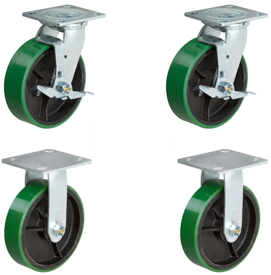 CasterHQ Set Of 4 Heavy Duty Casters - 8 inch x 2 inch Heavy Duty Caster Set - Green Polyurethane on Steel Wheels, 1,250 pounds Capacity per Caster 8'' Size Industrial Replacement Toolbox Caster Wheels