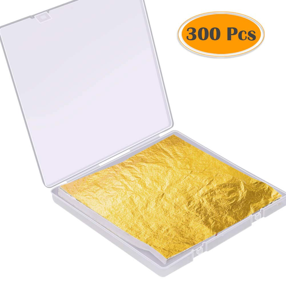 Paxcoo 300 Sheets Gold Leaf Foil Papers Sheets with Craft Box Imitation Gold Foil Paper for Slime, Arts, Gilding Crafting, Paint, Decoration, 5.5 by 5.5 Inches