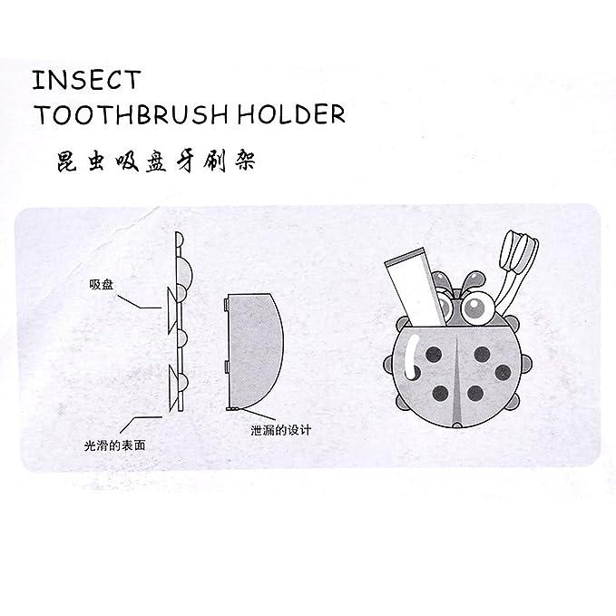 Amazon.com: eDealMax Forma mariquita Taza de succión Cepillo de dientes Pasta de dientes del sostenedor del estante Rojo soporte: Home & Kitchen