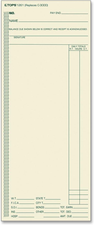 TOPS 1261 Acroprint/Amano/Cincinnati/Lathem Time Card, Weekly, 3 3/8 x 8 1/4 (Box of 500)