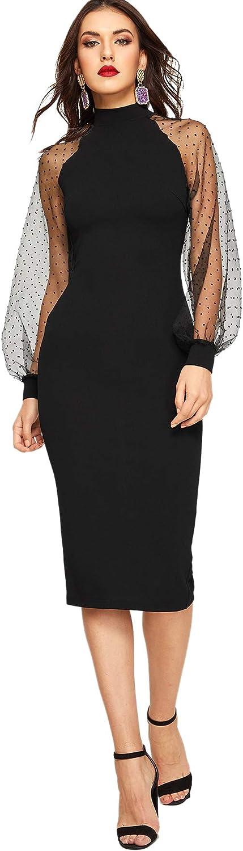 Romwe Women's Mock Neck Long Mesh Sleeve Zipper Back Sheath Dress