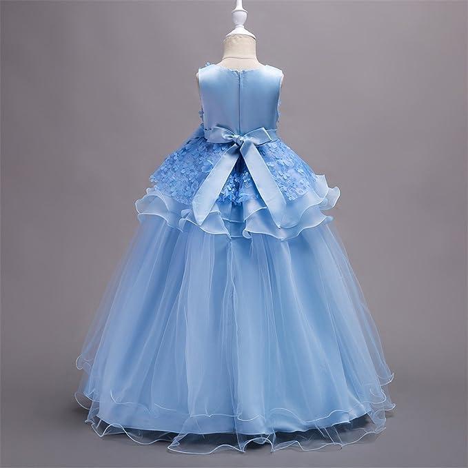 Vestido de encaje princesa Vestido de niña, Maxi Bubble Vestidos de tul con cinturón de bowknot para dama de honor, boda, cumpleaños, baile, fiesta de ...