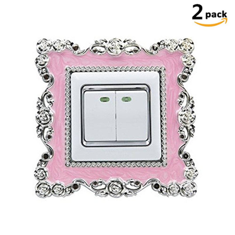 DWE 2PCS Light Switch Stickers Cover, Vintage Square Shape Luxurious Silver Wall Home Decoration (Pink)