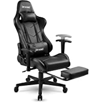 DESINO Gaming Chair Racing Style High-Back Computer Chair Swivel Ergonomic Executive Office Leather Chair with Footrest and Adjustable Armrests