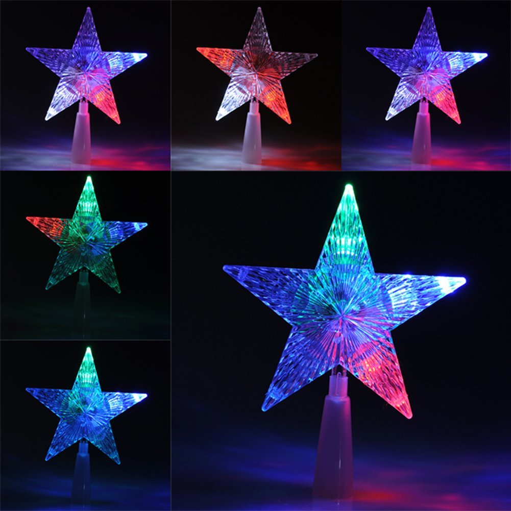 Yoption Christmas Treetop Light, Christmas Tree Top Light Star LED Light Treetop Light Xmas Decor Tree Decorations Ornaments Changing Light Lamp