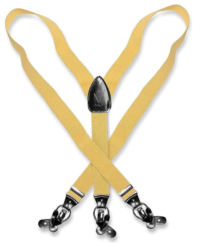 Mens Solid GOLD Color SUSPENDERS Y Shape Back Elastic Button /& Clip Convertible