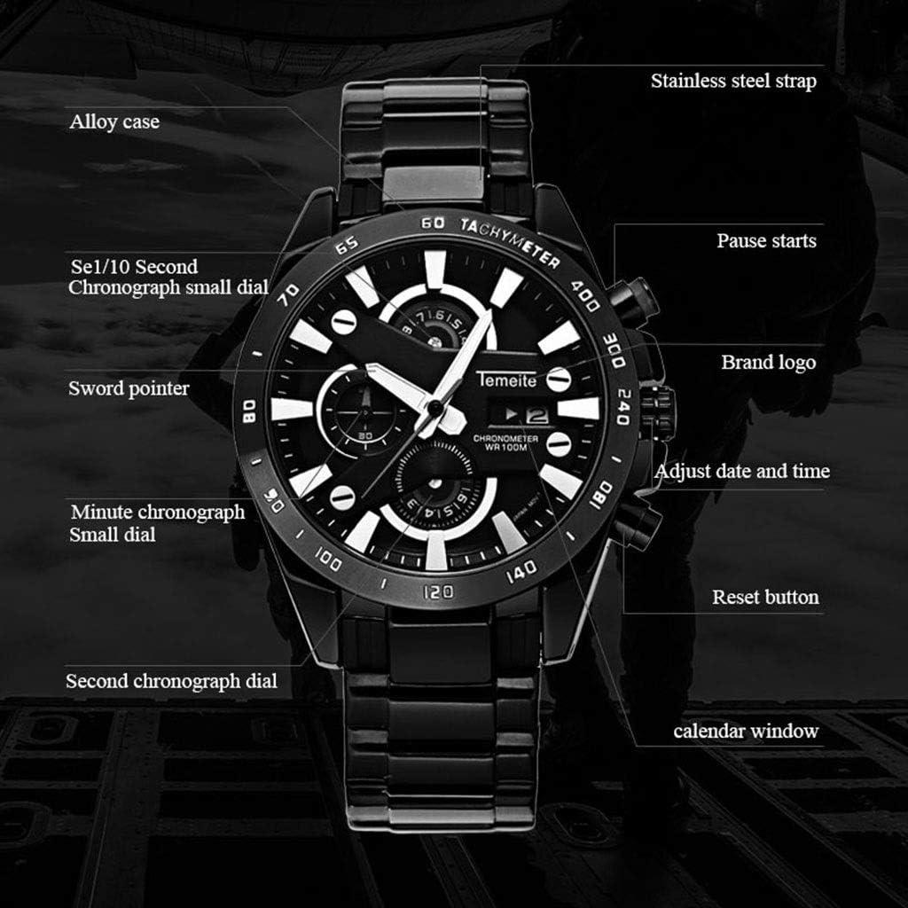 A-ZHP Orologio da Uomo Men Watch Minimalist Classic Dress Quartz Impermeabile Rotondo Argento quadrante cronografo 3 quadranti Display (Colore : A) B