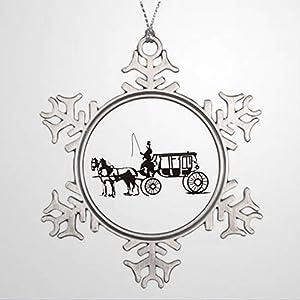 BYRON HOYLE Tree Branch Decoration Horse Drawn Carriage Traditional Christmas Decorations Christmas Snowflake Ornaments Xmas Decor Wedding Ornament Holiday Present