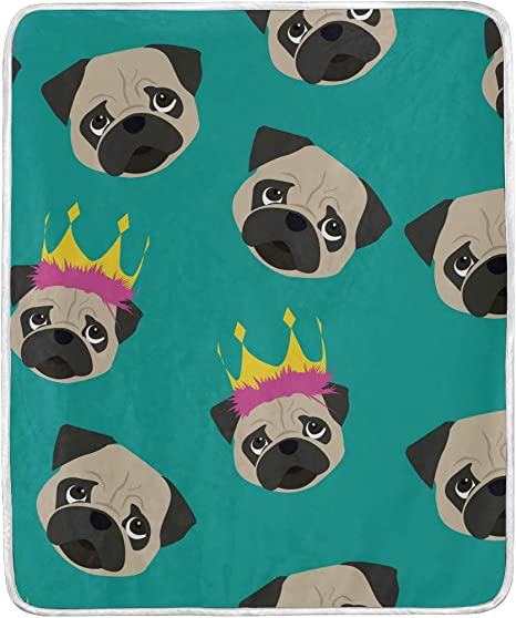Amazon Com Cartoon Cute Dog Pug With Crown Throw Blanket For Couch Bed Sofa Living Room Chair Adult Kid Women Soft Warm Fuzzy Velvet Blanket 50x60 Inch Home Kitchen