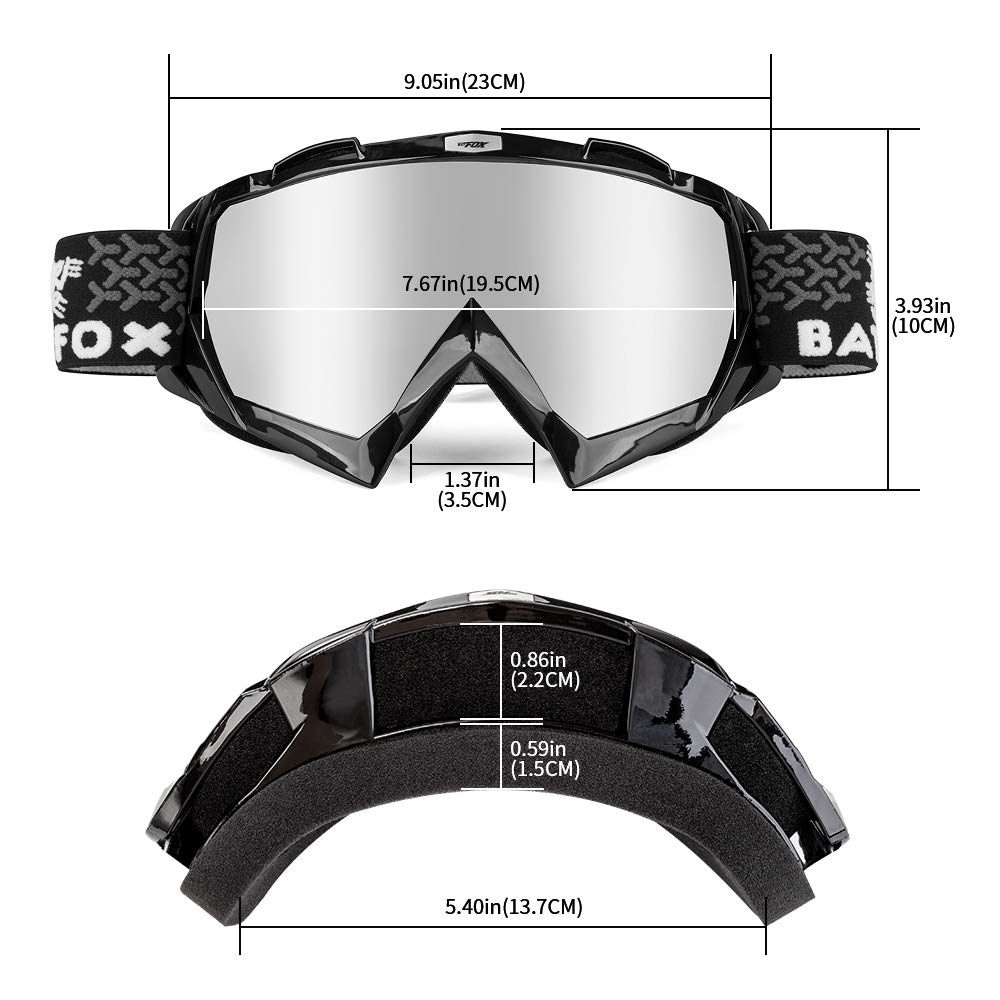 Black/&clear BATFOX Motorcycle Goggles Dirt Bike ATV Motocross Safety ATV Tactical Riding Motorbike Glasses Goggles for Men Women Youth Fit Over Glasses UV400 Protection Shatterproof
