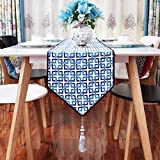 Simple Chinese Table Runner,Linen Fabric Coffee Table Flag,Bed Flag Shoe Cabinet Flag Restaurant Table Flag-A 32x220cm(13x87inch)
