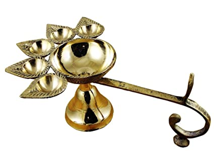 Lampe A Huile Indienne En Laiton Panch Aarti De Odishabazaar