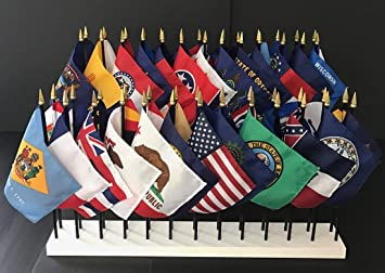 """State of Pennsylvania 4/""""x6/"""" Flag Desk Set Table Wooden Stick Staff"""