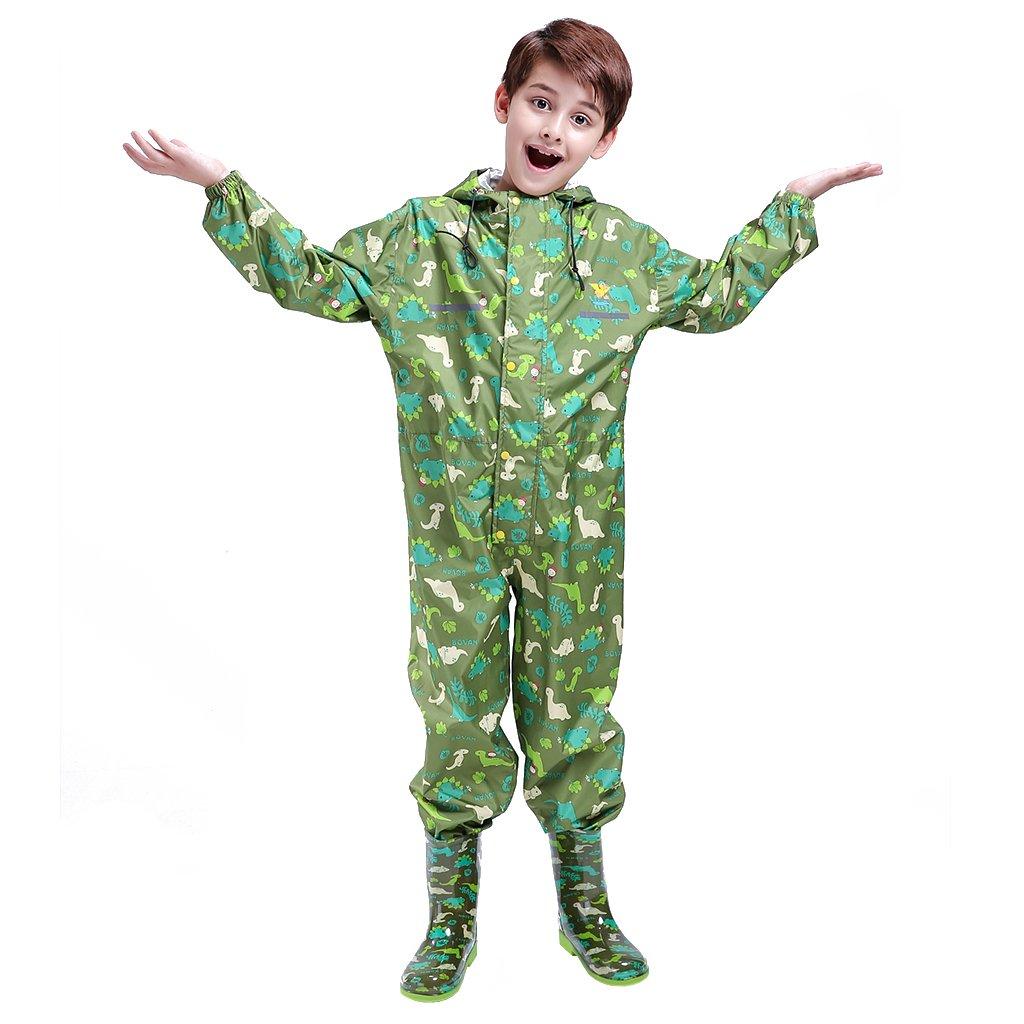 Unisex Enfant Manteau Imperm/éable Combinaison Ponchos de Pluie avec Capuche