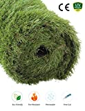 GOLDEN MOON Artificial Grass Rug Series PE Indoor/Outdoor Green Decorative Synthetic Artificial Grass Turf Area Rug 1 1/2'' Pile Height 3'x5'