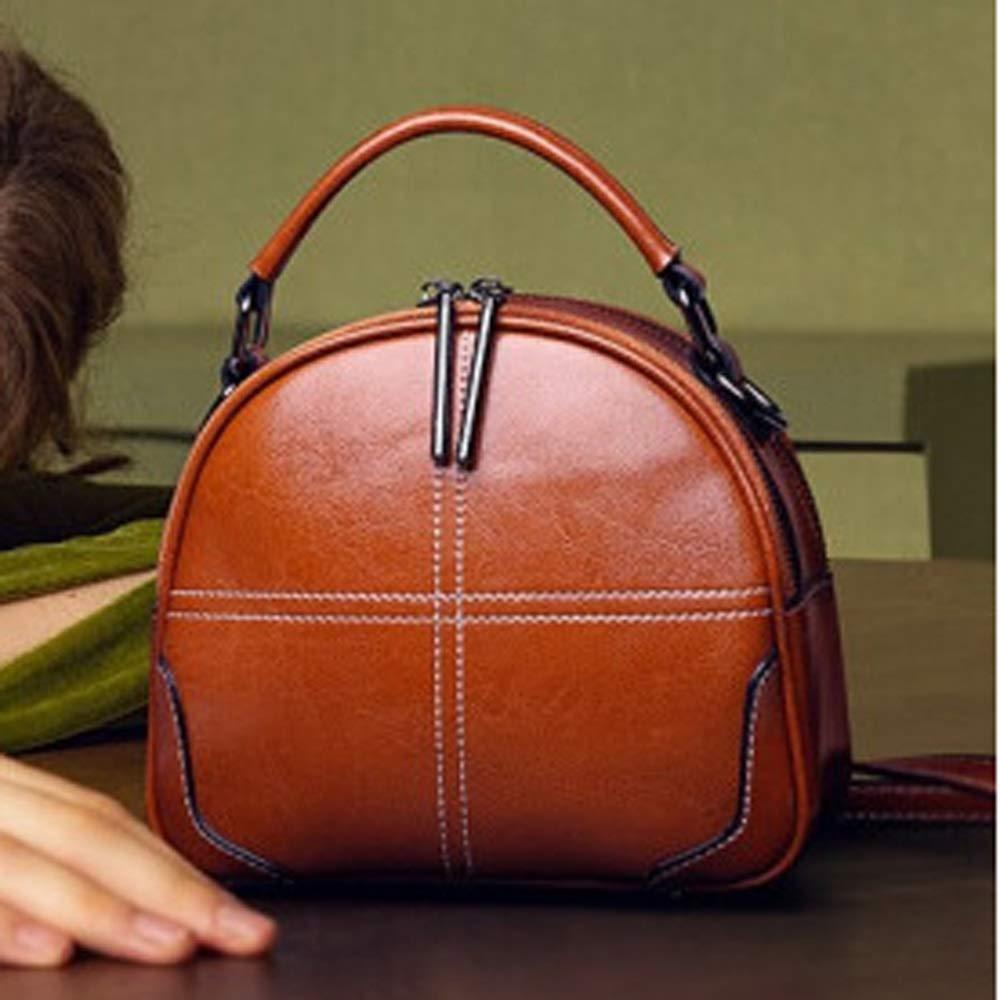 QUAN YOU Leather Bag Oil Wax Leather Brown Portable Ladies Bag Baggage//Handbag//Messenger Bag//Handbag Color : Brown