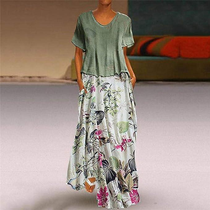 zarupeng✦‿✦ Mujeres Vintage Imprimir Patchwork O-Cuello ...
