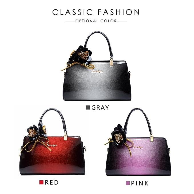 77d2ddb5ef162 G-AVERIL 2018 Damen Handtaschen Lackleder Farbverlauf Handtasche+Blumendekoration  Grau  Amazon.de  Koffer