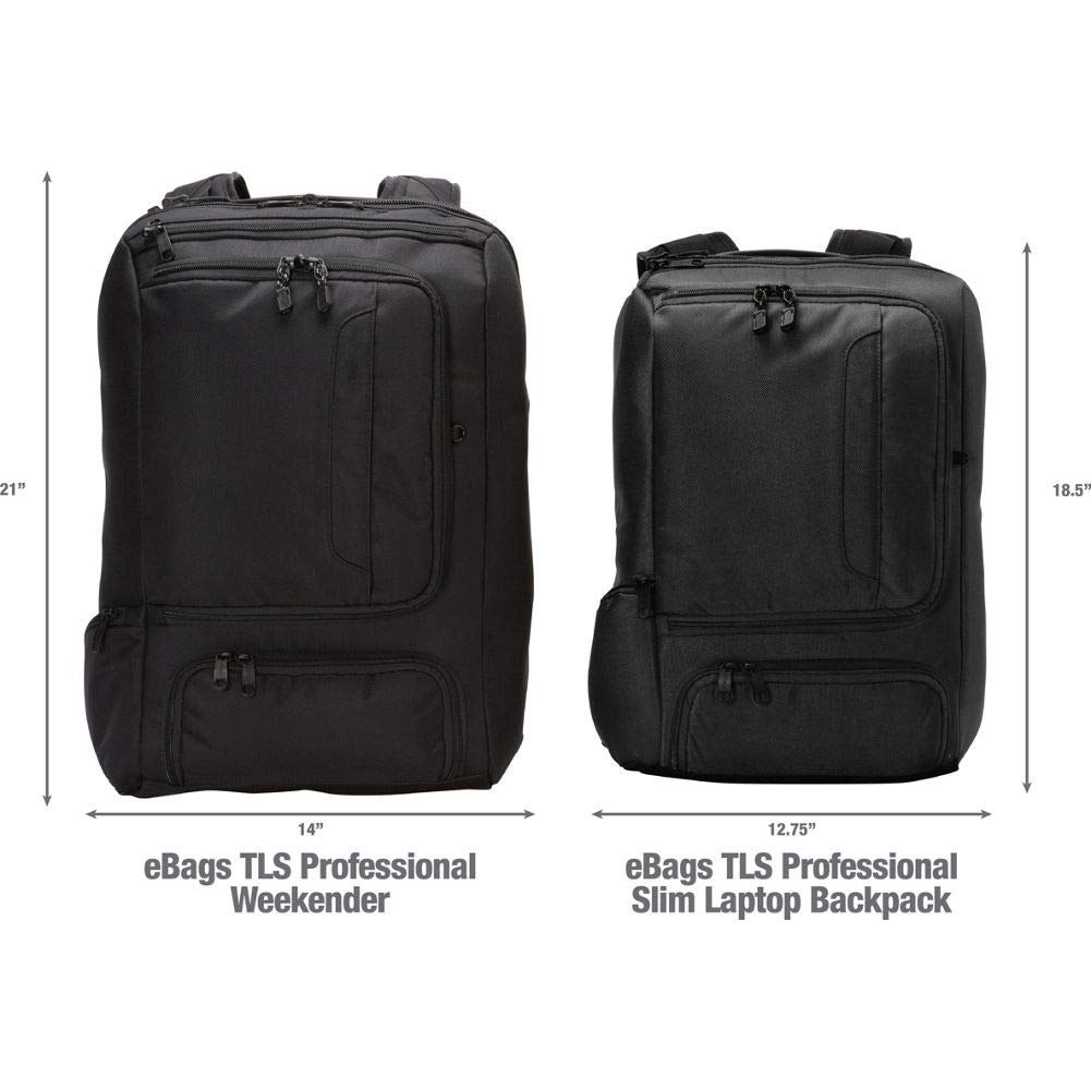 eBags Professional Weekender Carry-On Backpack Fits 18'' Laptop for Travel & Business - TSA Friendly - (Black) by eBags (Image #6)