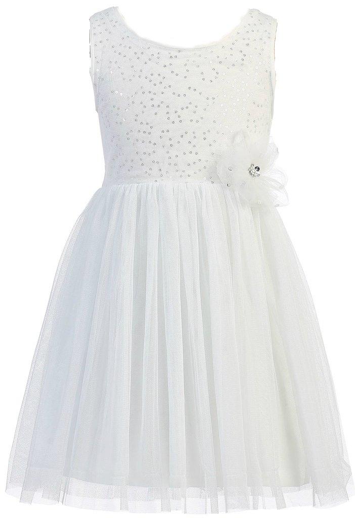 AkiDress Sleeveless Sequins Bodice with Tulle Skirt for Little Girl White 4