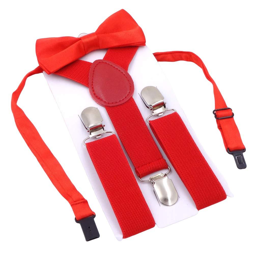 MENDENG Child Kids Suspenders Bowtie Set Adjustable Braces Bow Tie for Boys Girl