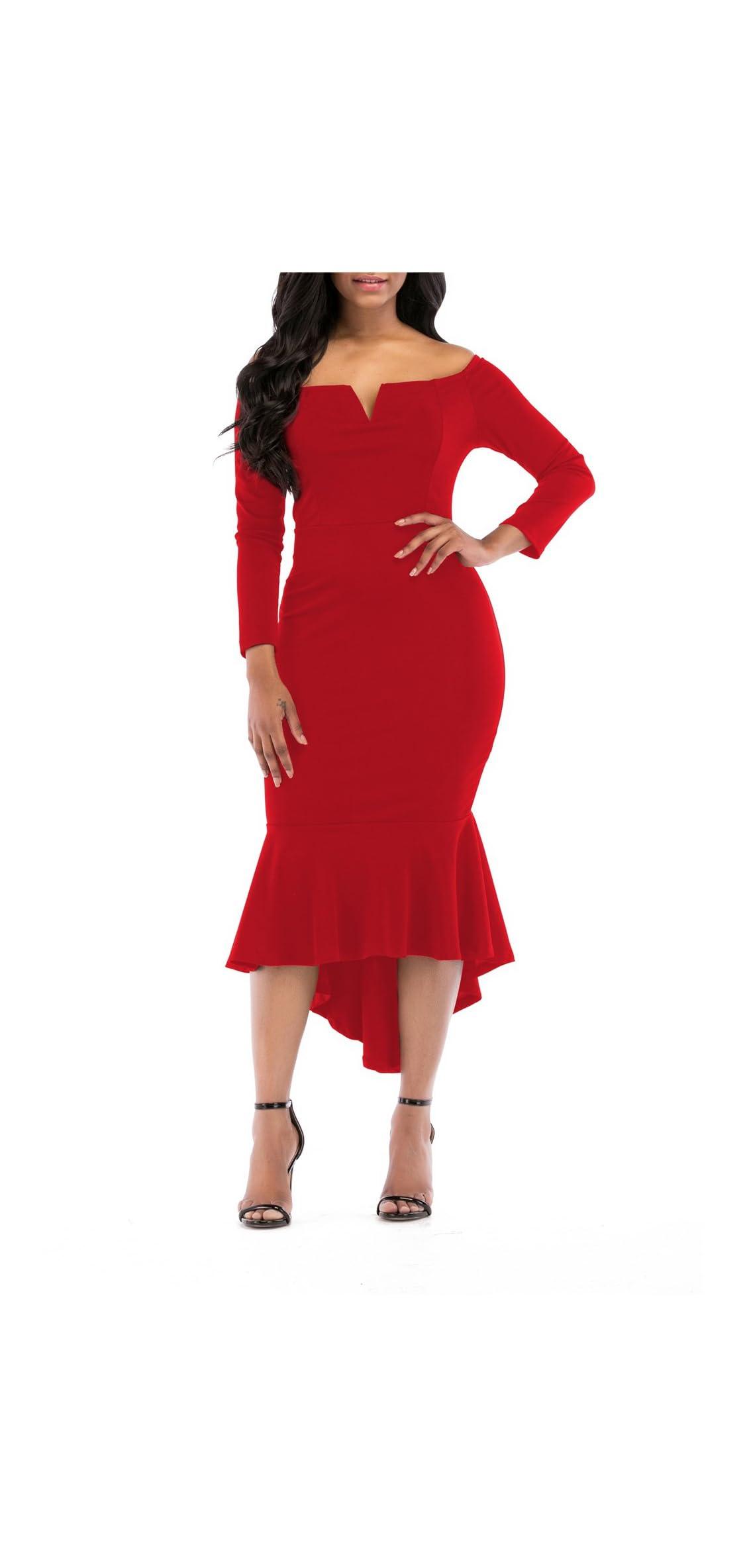 Fishtail Dresses For Women Midi Bodycon Dress Long V