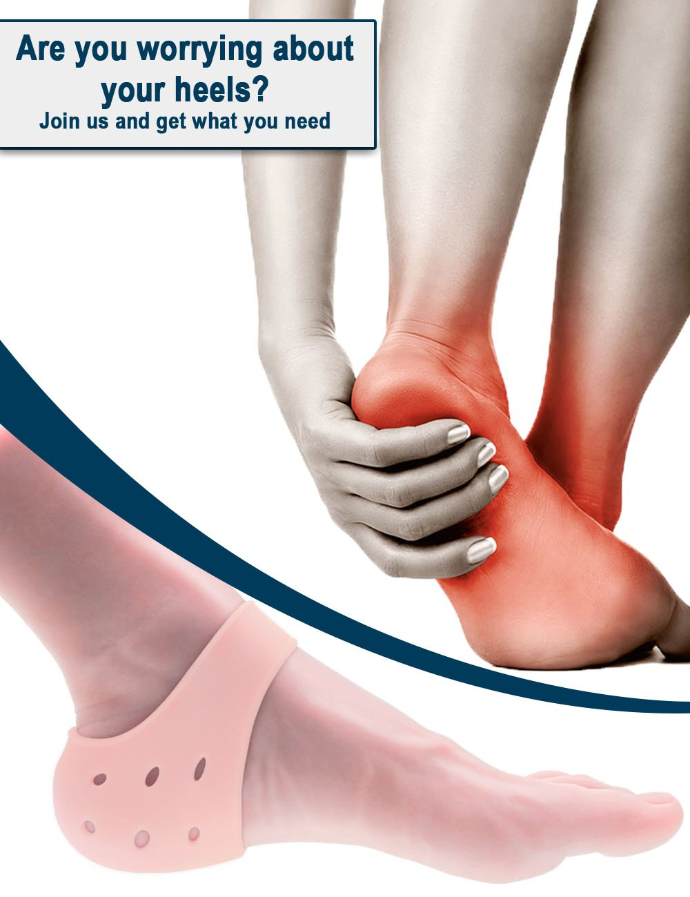 Heel Protectors, Moisturizing Gel Heel Cushions for Dry, Cracked feet by Toe Glow-2Pieces by Toe Glow (Image #3)