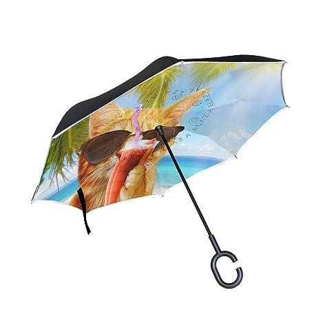 Wamika - Paraguas inverso de Gato Divertido con cóctel en la Playa, para Mujer y