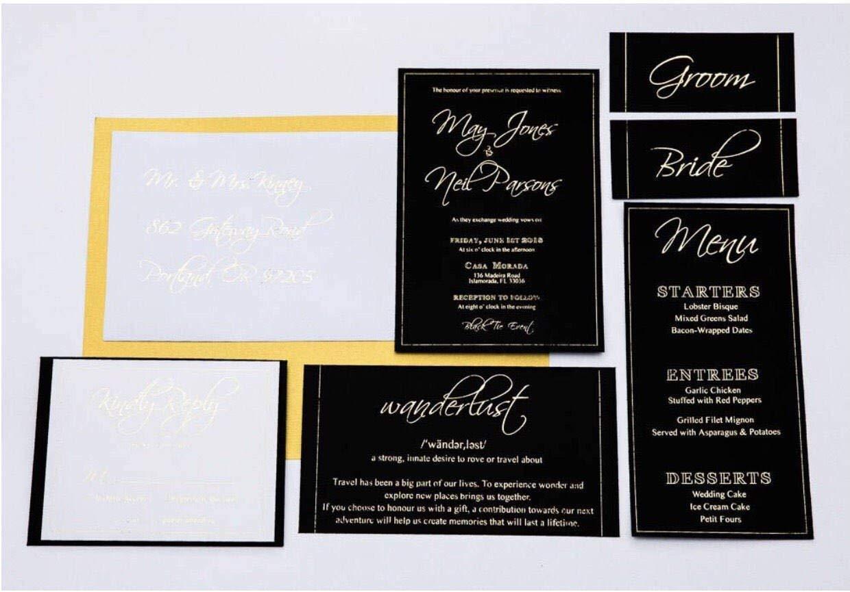 Gold Foil On Black Cardstock Invitation Suite Classic Invitation Black Invitation Gold Foil Invites Elegant Wedding Invites Amazon Ca Handmade