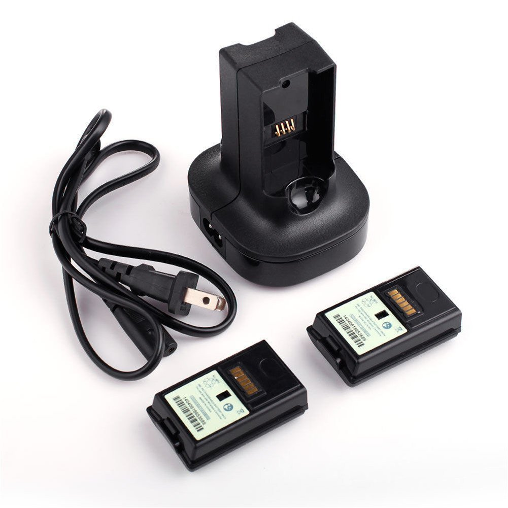 Cewaal Charging Station Stock Dock Base With 2X 4800mAh Rechargeable Battery For Xbox 360 Controller