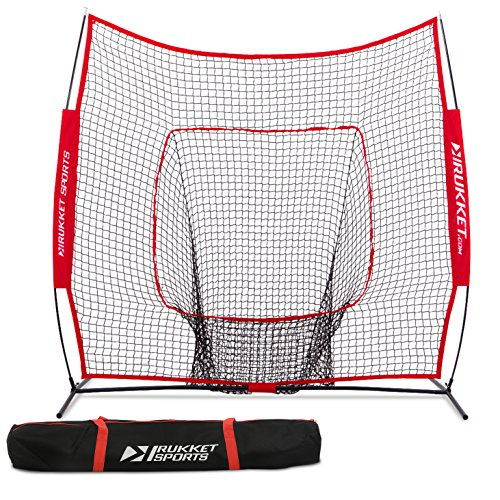 Batting Practice Net - Rukket 7x7 Baseball / Softball Net | Practice Hitting, Pitching, Batting and Catching | Backstop Screen Equipment Training Aids | Includes Carry Bag