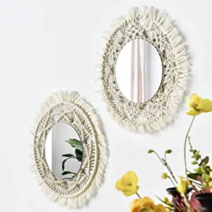 Wall Mirror Macrames Beautiful 2PCS Style Handmade Macrame Outsky Hanging Boho Fringe Round Decorative for Apartment Living Room Bedroom Baby Nursery Home Decor