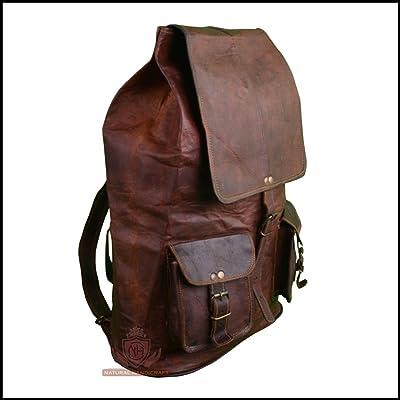 Men s Backpack Rucksack Bag Goat Vintage Leather Camping Hiking Daypack Shoulder  Messenger Travel Luggage Bag Laptop 531c8b94e1922