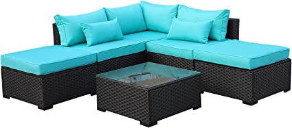 Amazon Com Rattaner Outdoor Wicker Sofa Set 6 Piece Patio Garden Sectional Pe Rattan Furniture With Turquoise Cushion Garden Outdoor