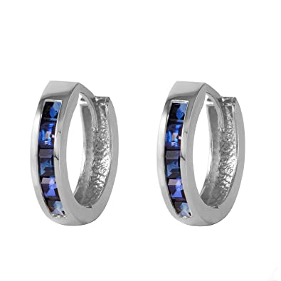 53d346870 Amazon.com: Galaxy Gold Genuine 14k Solid Gold Hoop Huggie Earrings with  1.3 Carat Natural Sapphire: Jewelry