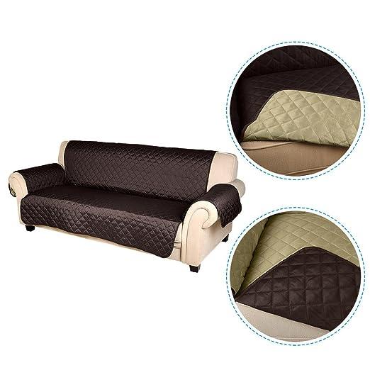 KINLO Funda de sofá Apta para Muchos sofás Normales de 3 plazas Sofa Protector Cubierta 167×165cm (Chocolate/Beige)