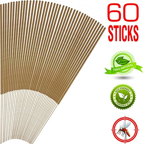 Mosquito Sticks, All Natural and DEET Free Insect Repellent, Eco friendly, Non toxic, Bamboo infused with Citronella, Lemongrass & grapefruit peel, for Outdoor Garden Yard and Indoor by MosquitoKiller