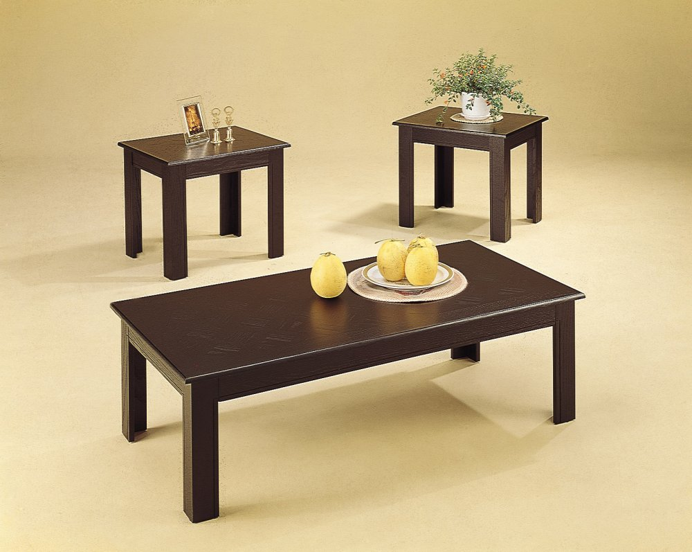Amazon.com 3pc Black Oak Veneer Parquet Coffee Table u0026 2 Side Tables Set Kitchen u0026 Dining & Amazon.com: 3pc Black Oak Veneer Parquet Coffee Table u0026 2 Side ...