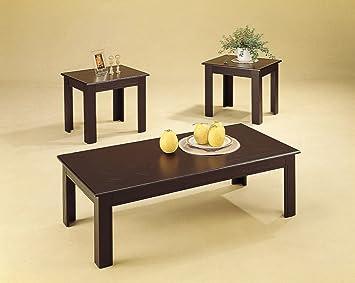3pc Black Oak Veneer Parquet Coffee Table 2 Side Tables Set