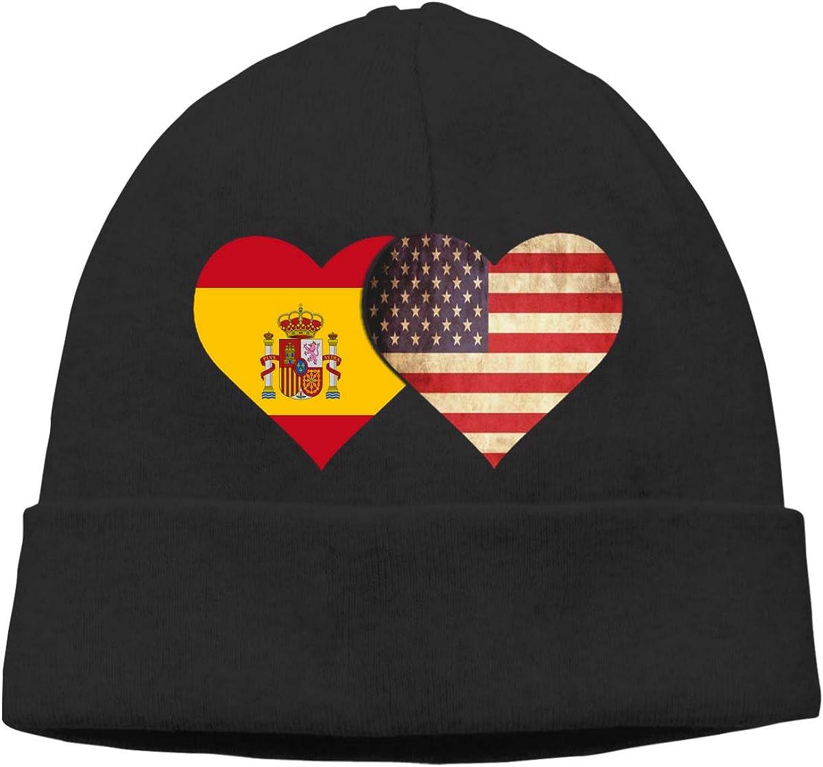 Gorro de Lana Unisex con Bandera española y Bandera Estadounidense Negro Negro (Taille Unique: Amazon.es: Ropa y accesorios