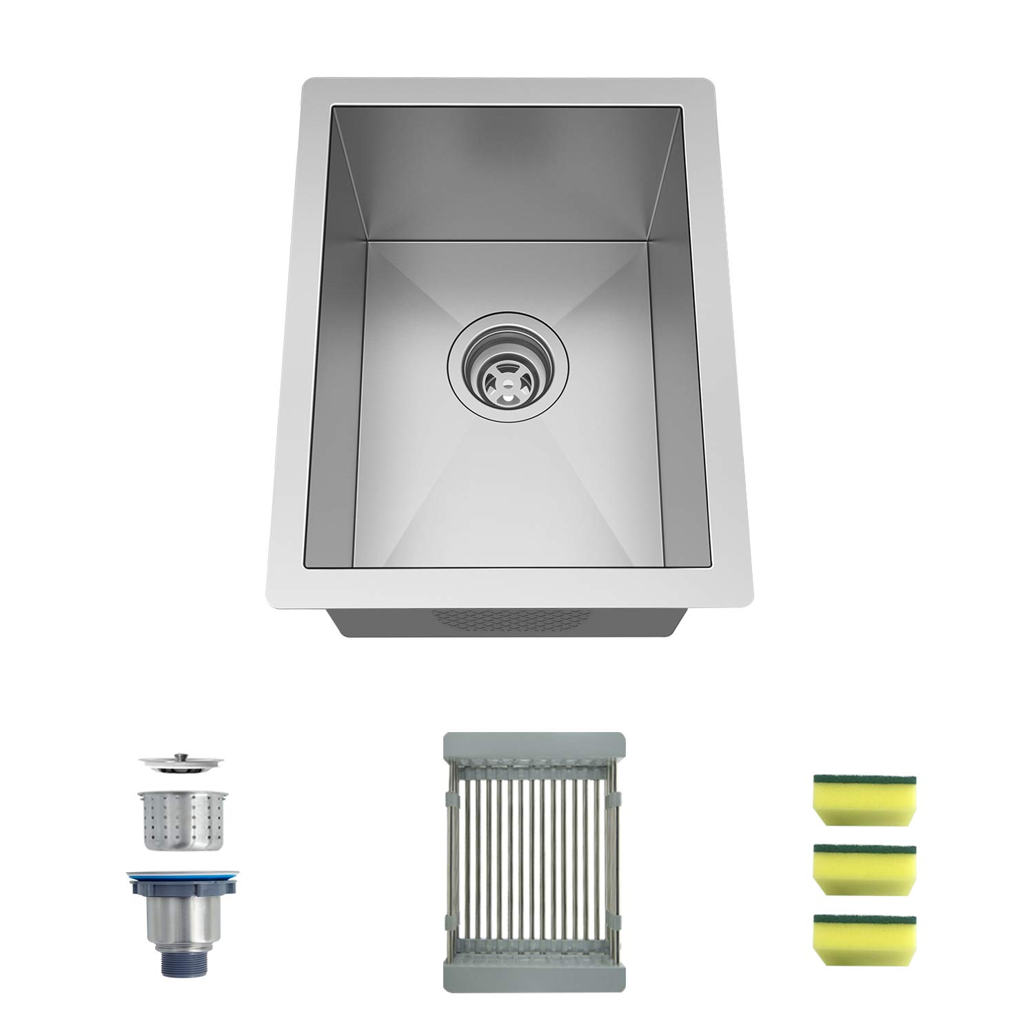 "MENSARJOR 14'' x 18'' Single Bowl Kitchen Sink 16 Gauge Undermount Stainless Steel Square Small Kitchen Sinks, Bar or Prep Sink Drop in (14"" x 18"" x 8.5"")"