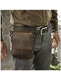 Le'aokuu Mens Genuine Leather Messenger Riding Hip Bum Waist Pack Drop Leg Cross Over Bag (dark brown)