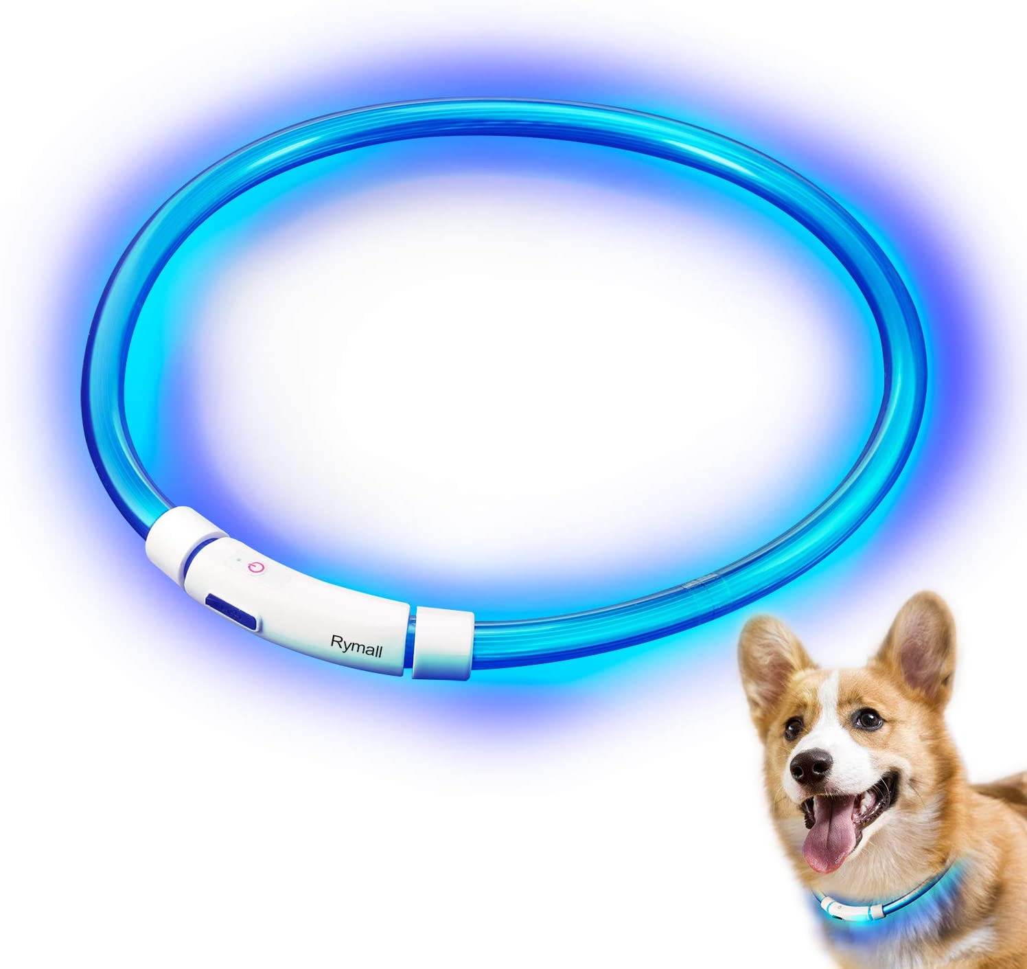 Collar para Perros, Collar de Seguridad para Perros, Rymall collar adiestramiento USB ajustable recargable impermeable LED parpadea luz Collar del animal doméstico, azul