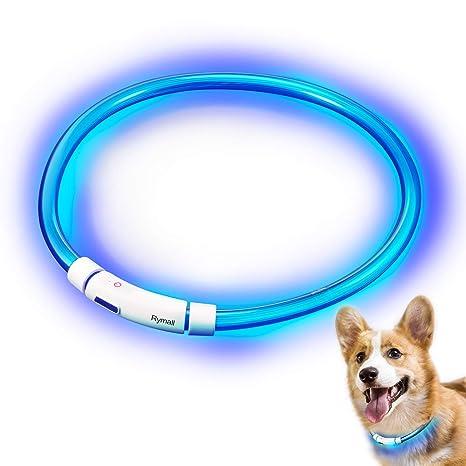 Collar para Perros, Collar de Seguridad para Perros, Rymall collar adiestramiento USB ajustable recargable impermeable LED parpadea luz Collar del ...