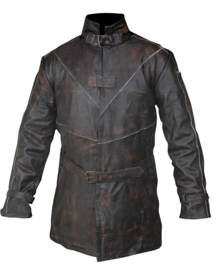 F&H Men's Watch Dogs Aiden Pearce Genuine Leather Trench Coat 5XL Brown