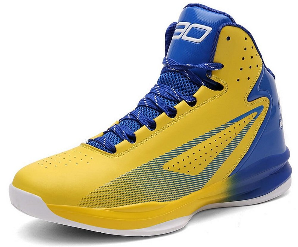 JiYe Women's Men's Performance Basketball Shoes Lace up Sports Fashion Sneakers by, Yellow Blue,24cm