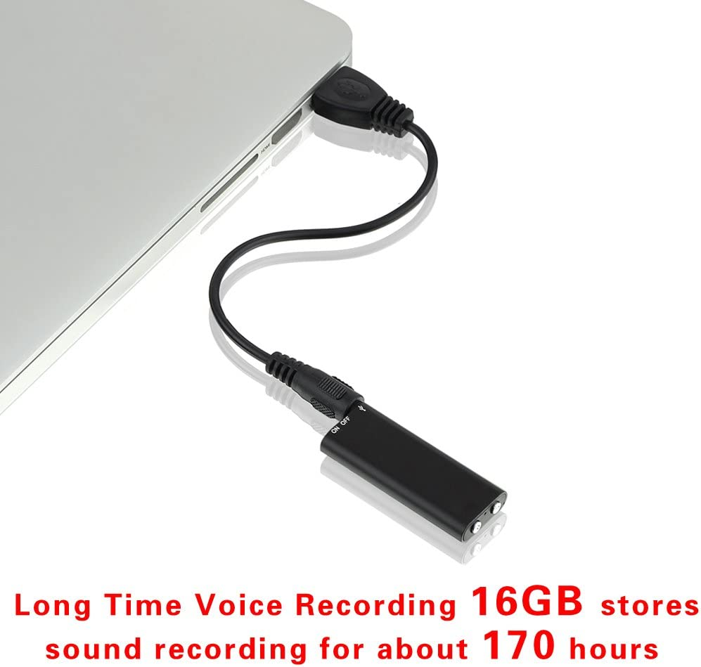 Digital Voice Recorder Mini Voice Recorder with 16GB USB Flash Drive and Mp3 Function//170 Hours Recording Capacity Black Small Audio Dictaphone for Meetings and Transfer Files