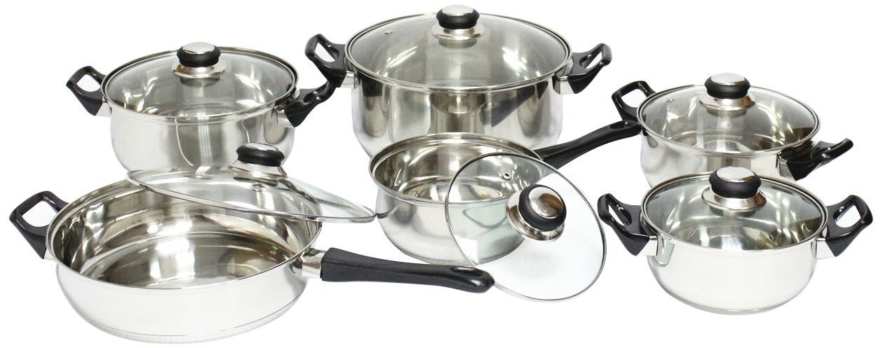 Royal Cook Stainless Steel 12 Piece Cookware Set, Silver