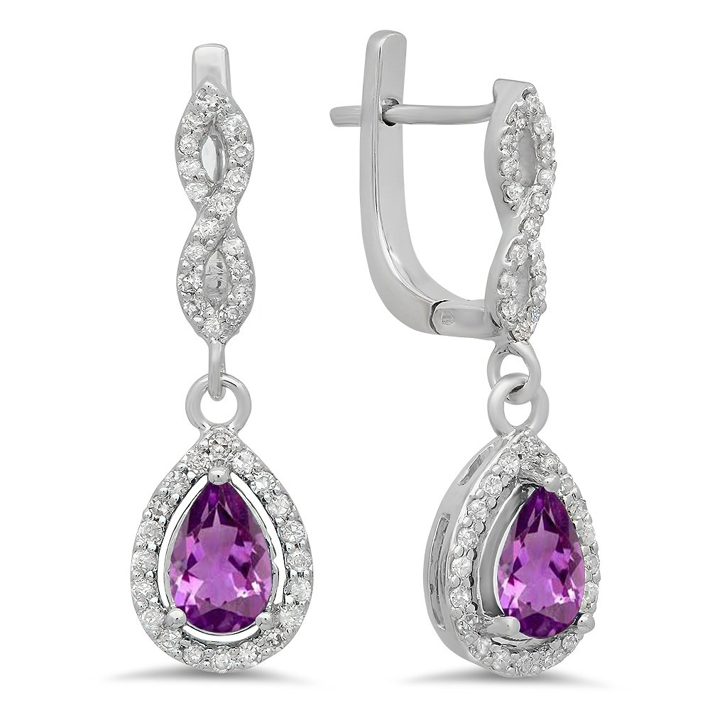 14K White Gold Pear Amethyst & Round White Diamond Ladies Halo Style Dangling Drop Earrings
