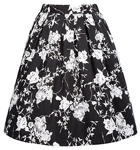 Lightweight Elastic Waist Casual Floral (Floral Lightweight Skirt)